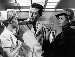The Nurses (CBS TV series) - Zina Bethune, Joseph Campanella and Diana Hyland in a scene from the program, 1965.