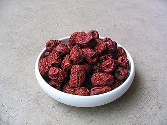Jujube - Jujube fruit naturally turns red upon drying.