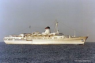 SS Ausonia (1956) - Ausonia in Genoa, Italy in 1989.