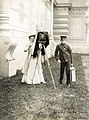 """Jessie Tarbox Beals and Punkin"" set up to take a photograph at the 1904 World's Fair.jpg"