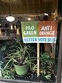 """Pro Green - Anti Orange - Better Vote Blue"" sign at Moosewood Restaurant.jpg"