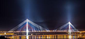 Russky Bridge - Completed bridge at night, 2013