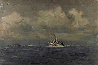 Dazzle camouflage - A painting by Norman Wilkinson of a moonlit convoy wearing his dazzle camouflage, 1918
