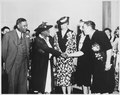 "(Mary McLeod Bethune), ""Mrs. Eleanor Roosevelt and others at the opening of Midway Hall, one of two residence halls buil - NARA - 533032.tif"