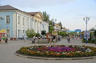 Berdyansk - Flowerbeds in downtown Berdiansk