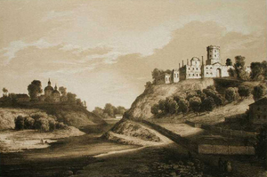 Korets Castle - The Ruins of Korets Castle, a drawing by Napoleon Orda