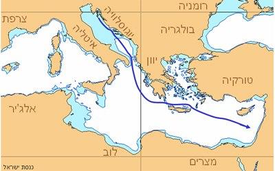 אוניית המעפילים כנסת ישראל - מסלול