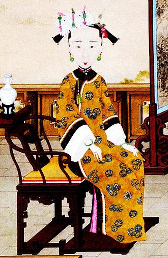 Empress Xiaoquancheng - Image: 《喜溢秋庭图》皇后部分