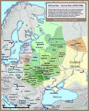 Rus' principalities before the Mongol and Lithuanian invasions 001 Kievan Rus' Kyivan Rus' Ukraine map 1220 1240.jpg