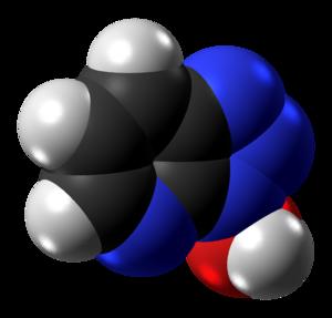 1-Hydroxy-7-azabenzotriazole - Image: 1 Hydroxy 7 azabenzotriazole molecule spacefill from xtal