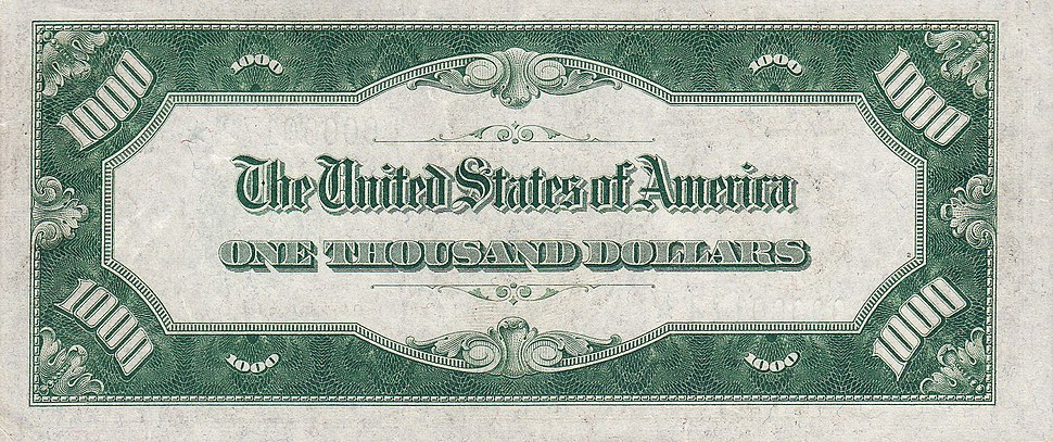 1000 USD note; series of 1934; reverse