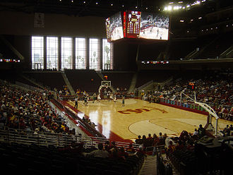 USC Trojans - Galen Center - The Los Angeles Skyline visible through the north windows.