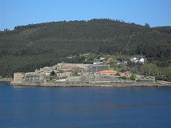 Vista del castillo de San Felipe visto desde la orilla sur de la ría