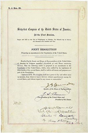 Sixteenth Amendment to the United States Constitution - The Sixteenth Amendment in the National Archives