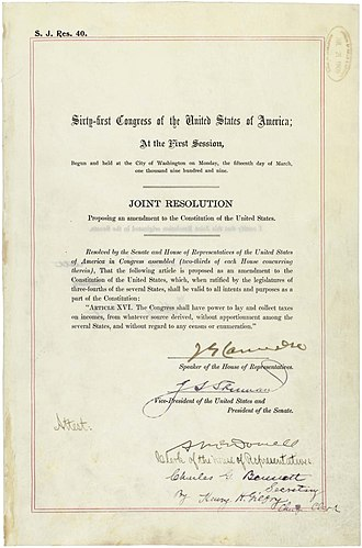 History of taxation in the United States - Amendment XVI in the National Archives