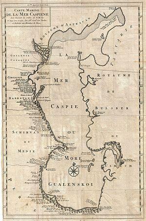 Chechen' Island - 1721 Van Verden map of the Caspian Sea with Chechen Island.