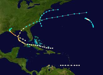 1856 Atlantic hurricane season - Image: 1856 Atlantic hurricane season summary map