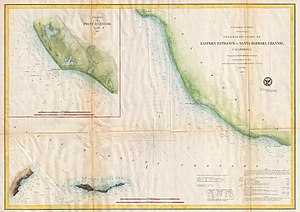 Port of Hueneme - 1857 U.S. Coast Survey Map has inset of Point Hueneme before the harbor was built