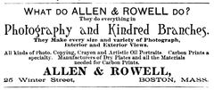 1888 Allen and Rowell advert 25 Winter St Boston AnthonysPhotoBulletin.png