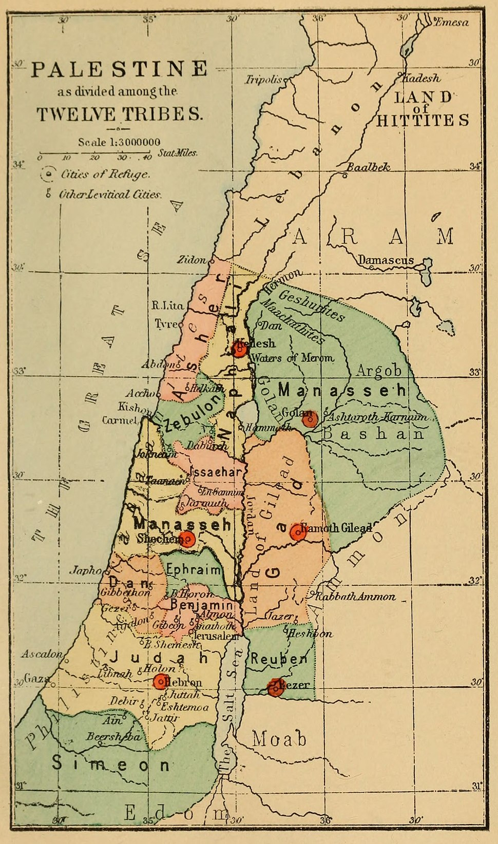 1889 Palestine, as divided among the Twelve Tribes