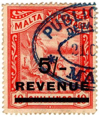Revenue stamps of Malta - The 5/- stamp of 1908, overprinted on a special printing of the 10/- stamp in red (the stamp had been originally issued as a 10/- postage stamp in black in 1899)