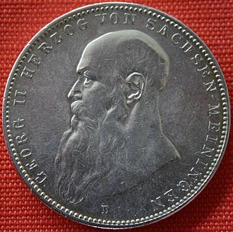 Georg II, Duke of Saxe-Meiningen - A five mark depicting Georg II, 1908.