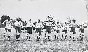 Australasia rugby league team - The 1911 Kangaroos performing their war cry before the first Test.