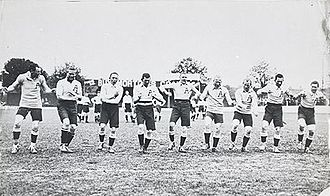 1911–12 Kangaroo tour of Great Britain - The Kangaroos performing their war cry before the first Test.