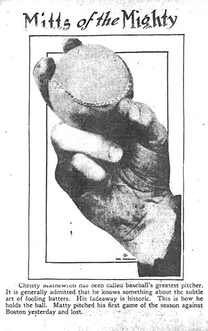 Cutter (baseball) - A cut fastball grip from The Day Book in Chicago who credited the pitch to Christy Mathewson.