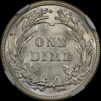 1894-S Barber dime - Image: 1914 Barber Dime NGC MS64plus Reverse