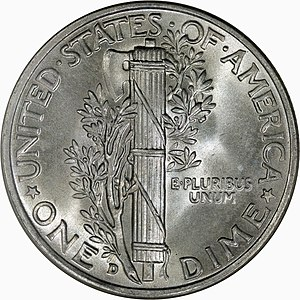 Roosevelt dime - The reverse of the Mercury dime, with a fasces and, like the Roosevelt, an olive branch