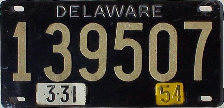 1954 Delaware license plate