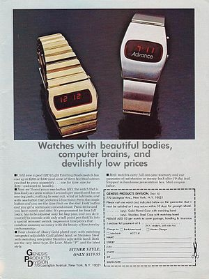 1970s Advertising for Vintage Electronic LED Watches with Red Dials, From Genesis Products Division, Genesis Magazine (10537307225).jpg