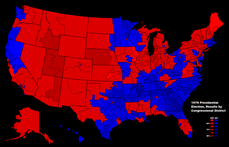 1976 Presidential Election in the United States, Results by Congressional District