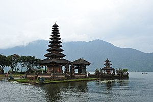 Balinese architecture - Pura Ulun Danu Bratan in harmony with Bratan lake environment.