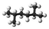 Ball and stick model of 2,5-dimethylhexane