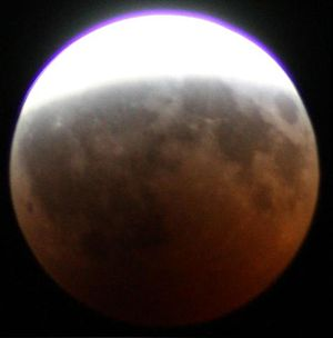 Spherical Earth - Round Earth umbra during the August 2008 lunar eclipse