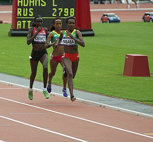 5000 metres world record progression - Current women's world record holder Tirunesh Dibaba (right) leading former world record holder Meseret Defar (centre) at the 2012 Olympic 5000 m final