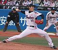 20130407 Tetsuya Yamamoto, pitcher of the Tokyo Yakult Swallows, at Meiji Jingu Stadium.JPG