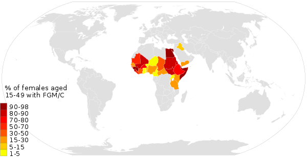 Female genital mutilation prevalence, from 2013 UNICEF data