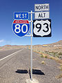 2014-06-11 10 24 36 First reassurance sign for Alternate U.S. Route 93 along westbound Interstate 80 in West Wendover, Nevada.JPG