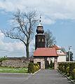 2014 Kamienica, kościół św. Jerzego, mur.JPG