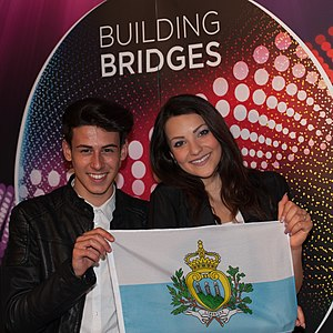 San Marino in the Eurovision Song Contest 2015 - Michele Perniola and Anita Simoncini at a press meet and greet