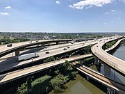 2019-07-15 13 34 07 View south along Interstate 395 (Cal Ripken Way) at its junction with Interstate 95 from the overpass for the ramp from Interstate 395 southbound to Interstate 95 northbound in Baltimore City, Maryland