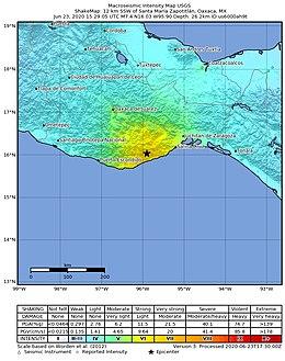 2020-06-23 Santa Maria Xadani, Mexico M7.4 earthquake shakemap (USGS).jpg