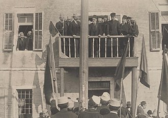 Independent Albania - Ismail Qemali and his cabinet during the celebration of the first anniversary of independence in Vlorë on 28 November 1913.