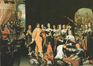 Elizabeth Charlotte of the Palatinate, Electress of Brandenburg - Elizabeth Charlotte of the Palatinate (1597–1660) as Queen of Sheba with her husband at her feet and her son and his wife in attendance, by their court painter Mathias Czwiczek