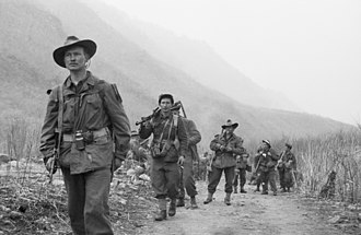 Australia in the Korean War - Members of 3 RAR move forward in 1951