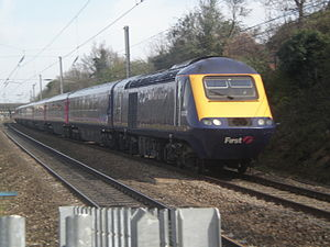 Inter-city rail - An InterCity 125 passes Ealing Broadway on its way to Swansea. This is the world's fastest diesel train and is used on various intercity services in Great Britain.