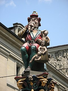 figure fountain from the 16th century on the Kornhausplatz in the city of Bern, Switzerland